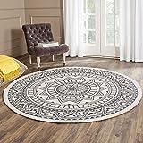 SHACOS Mandala Teppich Rund Grau 120 cm Baumwollteppich mit Quasten Flachgewebe Teppiche Waschbar Retro Teppiche für Wohnzimmer, Restaurant, Schlafzimmer