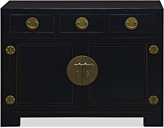 ChinaFurnitureOnline Elmwood Cabinet, 48 Inches Ming Style Sideboard in Black Finish