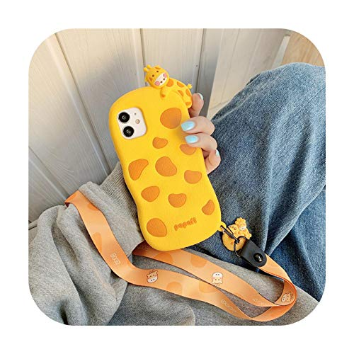 3D Cute Giraffe Silikon Handyhülle für iPhone 12 Mini 11 Pro SE 2020 X XR 7 8 Plus XS Max Back Cover Cartoon Lanyard Strap Capa-WY395 für iPhone 8plus