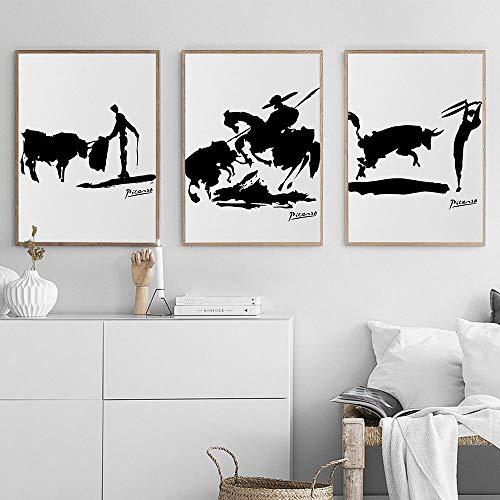 Póster abstracto de Picasso humano y silueta de toro, lienzo al óleo blanco y negro, impresiones, póster, imágenes artísticas de pared, decoración del hogar, 40 * 60 cm