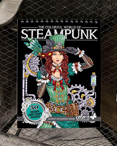 ColorIt Colorful World of Steampunk Adult Coloring Book - 50 Single-Sided Designs, Thick Smooth Paper, Lay Flat Hardback Covers, Spiral Bound, USA Printed, Steampunk-Inspired Pages to Color