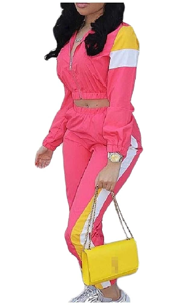 よろしく飛び込む羊飼いTootess 女性の2つの部分は、色中型のクロップドジップカジュアルトラックスーツセット