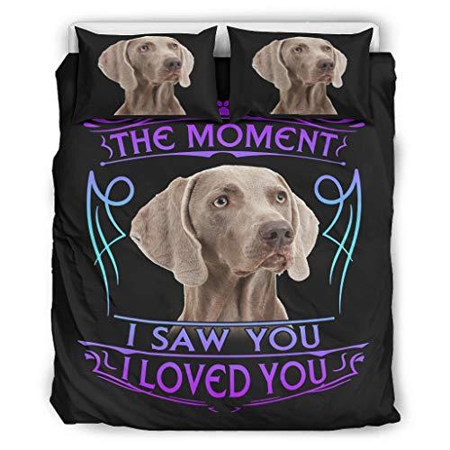 DOGCATPIG All Season Bedding The Moment I Saw You I Love You Dog Weimaraner Juego de cama de estilo pareja para colegas, color blanco 167,6 x 228,6 cm