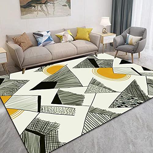 Alfombra Despacho Alfombra Juvenil Dormitorio Alfombra de la sala de estar moderna alfombra geométrica verde amarillo duradero antiincrustante anti-ácaros anti-ácaros de niña dormitorio tienda de comp