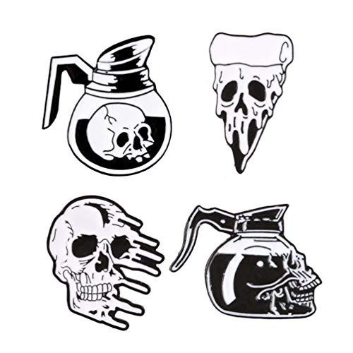 TENDYCOCO 4Pcs Gotische Emaille Anstecknadel Set Punk Schädel Kopf Skelett Brosche Pin Abzeichen für Kleidung Taschen Rucksäcke Jacken Hut Zubehör- zufällige Stile