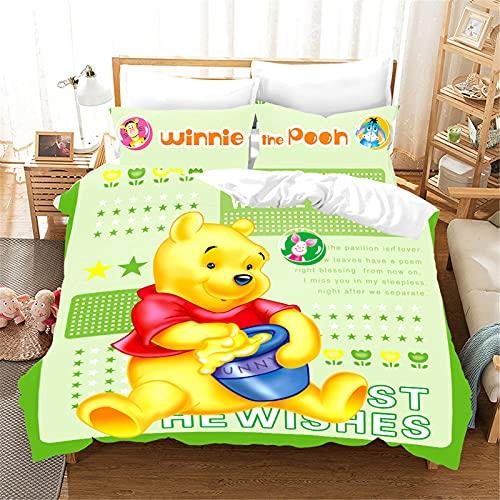 Bfrdollf Disney Winnie Pooh - Juego de cama de 135 x 200 cm, impresión digital 3D, microfibra, con funda de almohada, para niños y niñas (6,220 x 260 cm)