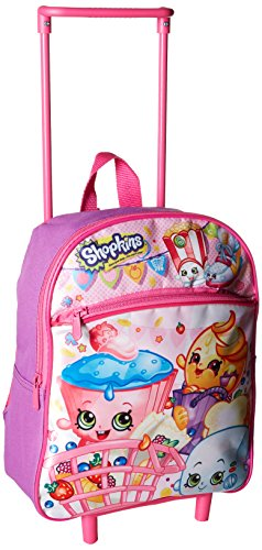 Shopkins Girls 12 Inch Rolling Backpack, Pink, No Size