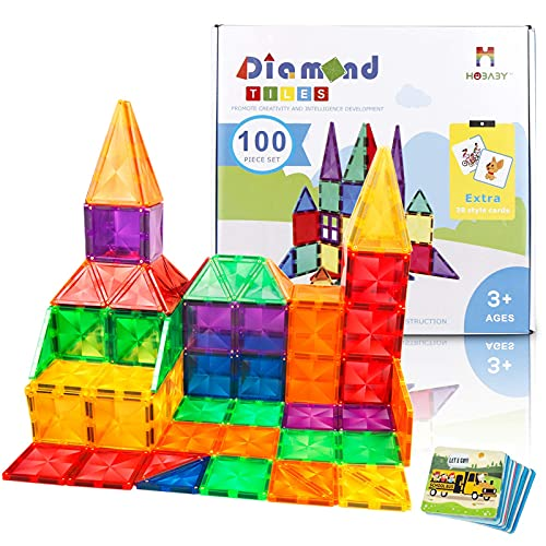 CONNOO Hobaby 120 Piece Diamond Tiles Magnetic Blocks Magnetic Tiles Durable 3D Magnetic Educational Toy for Kids Toddlers Boys Girls, Learning Educational Toys Magnetic Building Blocks
