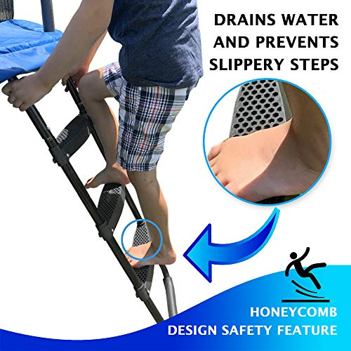 Magerdy Fields Trampoline Ladder with 3 Wide Steps - Heavy Duty - Fits Size 10,12,14,16 FT Trampolines- Includes a 3 Pocket Shoe Storage Bag for Hanging