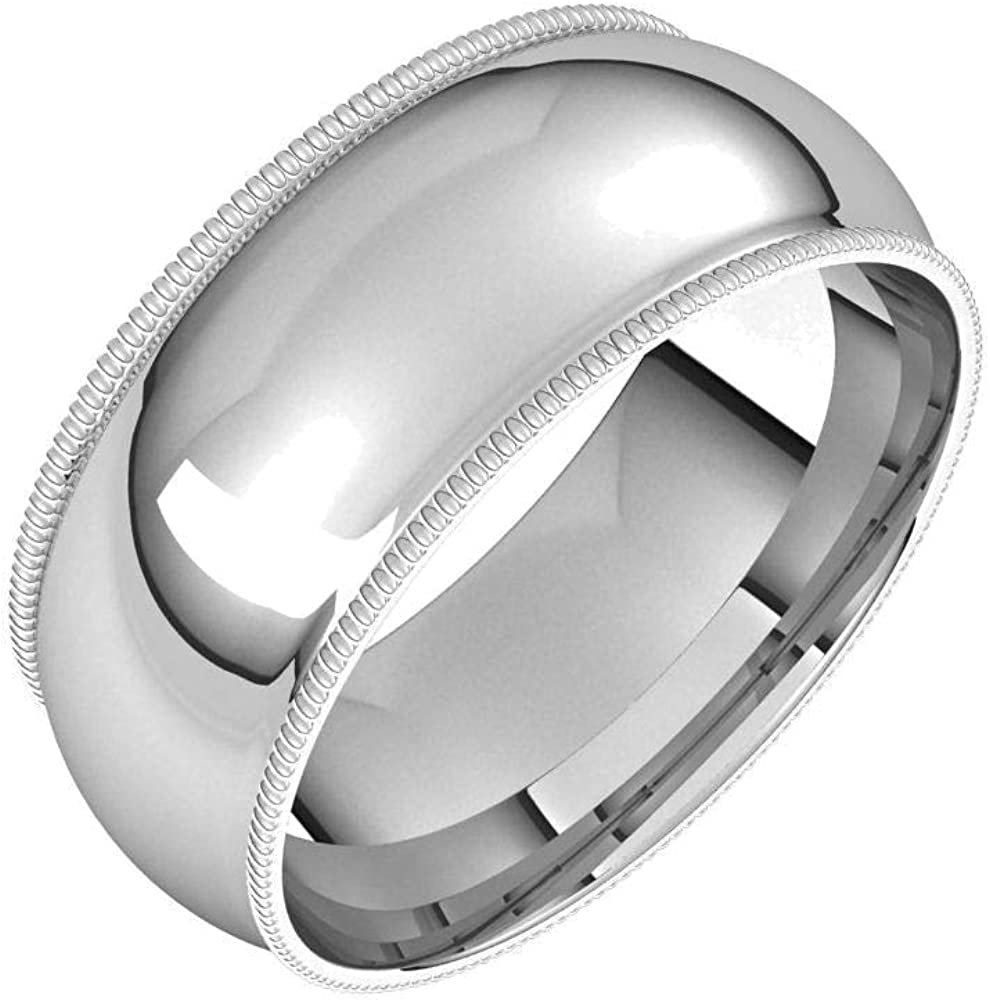 Bonyak Jewelry Solid Sterling Branded goods Silver 8mm Com Round Milgrain New product! New type Half