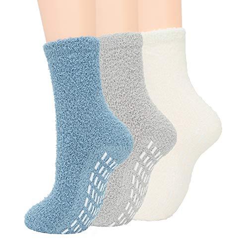 Zando Fuzzy Socks for Women Non Slip Slipper Socks Cozy Fluffy Socks Winter Grip Socks Non Skid Socks Warm Fleece Socks Super Soft Anti Slip Socks Indoor Sleeping Socks 3 Pack Blue/Gray/White One Size