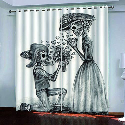 Abeeaceo® 2 Pcs Verdunkelungsvorhang Gardinen Halloween Vorschlag Paar Skelett Mann 3D Druck Schlafzimmer Verdunkelungsvorhänge Vorhang Für Studieren Wohnzimmer 170 (B) X 200 (H) cm -Kindervorhänge
