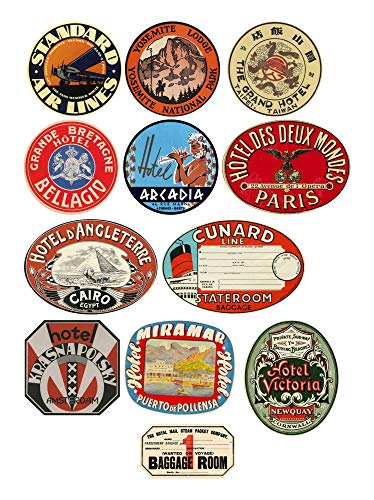 Thorpe Signs Vintage Style Travel Luggage Labels Set of 12 Vinyl Stickers Multi Coloured