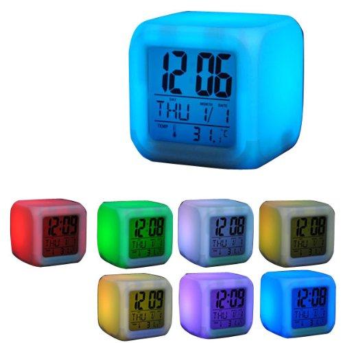 7 LED-färgkubiska klocka med digital LCD-skärm, kalender, väckarklocka, termometer, alarmfunktion, mycket snygg, öppningserbjudande (32)