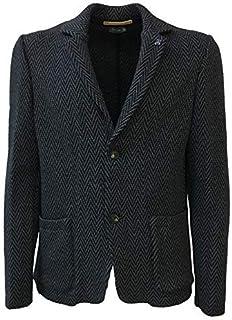 ferrante Men's Jacket Jersey Fantasy Spinata Blue Mod. U39201 Made in Italy