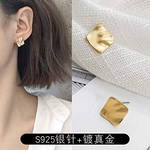 Chwewxi Matte textuur bult metalen ronde vierkante oorbellen Korea temperament eenvoudige poort wind oorbellen vrouwelijke getij, goud bult vierkant stuk (Zilveren naald + verguld)