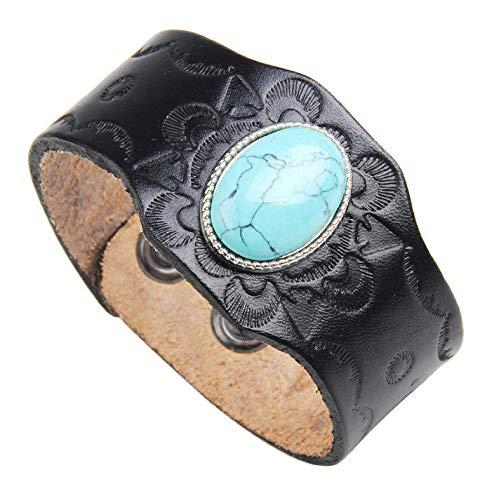 Bracelet Cuir - Bracelet Manchette en Cuir sculpté à la Main avec Turquoise - Taille Ajustable et agréable à Porter.