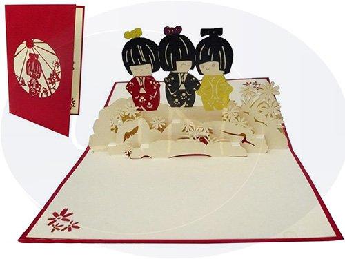 LIN-POP UP Grußkarten, Glückwunschkarten Kimono, Reisegutschein Japan, Karten für Japan Fans, Japan Damen
