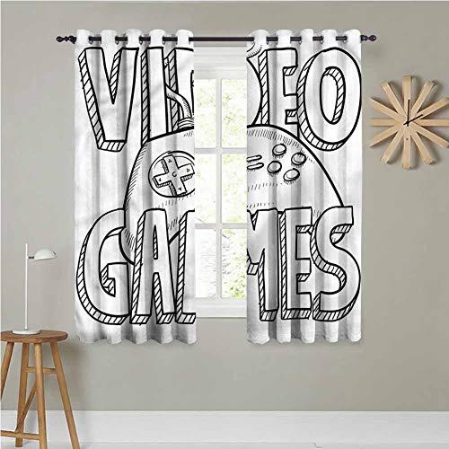 Jktown - Cortinas de baño para niños, Estilo Doodle, para Videojuegos, oscurecer la habitación, reducción de Ruido, 140 x 183 cm