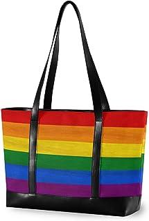 CPYang Laptop-Tragetasche 15,6 Zoll Regenbogen Lgbt Pride Canvas Schultertasche Große Handtasche Frauen Computer Tote Tasc...