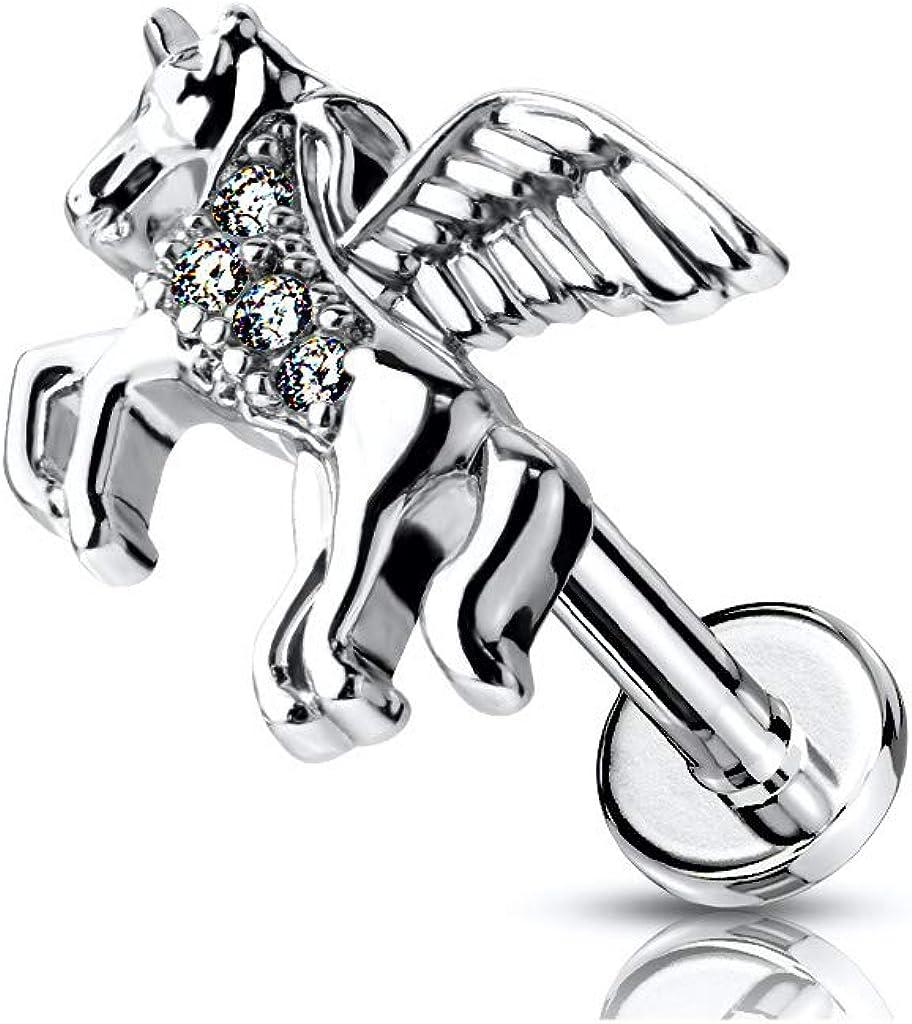 Amelia Fashion CZ SEAL limited product Arlington Mall Paved Unicorn Internally 316L Threaded Surgica