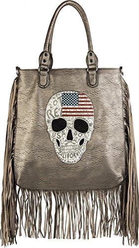 styleBREAKER Handtasche mit USA Design Totenkopf, schwarzem Strass und Langen Fransen, Umhängetasche, Damen 02012064, Farbe:Antik-Gold