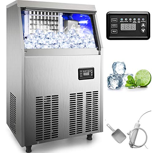 VEVOR 110V Commercial Ice Maker 90-100LBS/24H with 33LBS Bin, Full Heavy Duty Stainless Steel Construction, Automatic Operation, Clear Cube for Home Bar, Include Water Filter, Scoop, Connection Hose