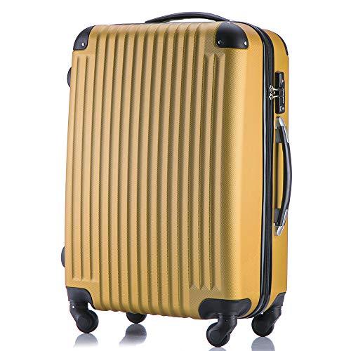 (トラベルデパート) 超軽量スーツケース TSAロック付 (Lサイズ(長期旅行用/86L), ゴールド)
