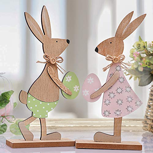 Victor's Workshop Decorazioni pasquali 2 Set Altezza 26 cm Conigli Figure Decorative Figure in Legno Decorazione Primaverile Giocattoli per Bambini Figure Decorative per Primavera Confezione