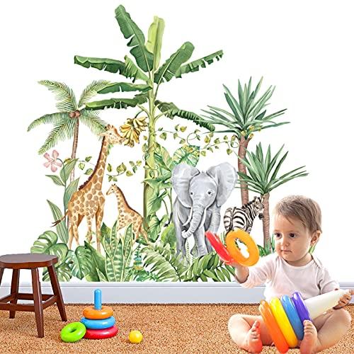 Bosque Animales Árbol Vinilos Decorativos,Vinilos Adhesivas Pared Animales DIY para Habitación Infantiles,Jirafa elefanteadhesivos vinilo de niños Habitación Infantiles Niños Bebés Guardería