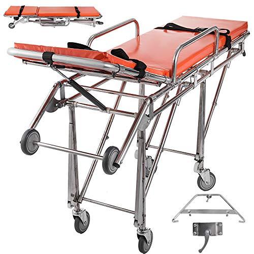 Happybuy Lightweight Emergency Ambulance Stretcher Alloy Emergency Medical Hospital Stretcher Wheeled Weight Capacity 350.5lbs Adjustable