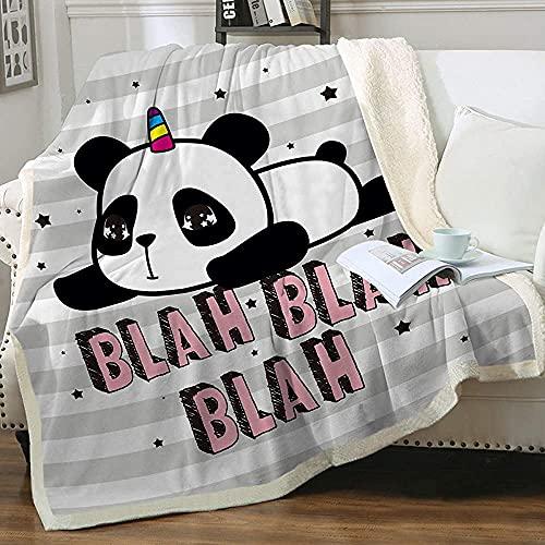 Coperta in pile per bambini con panda in morbido pile grigio morbido e caldo Sherpa colorato Pop Art Panda orso per adulti e donne, accogliente e soffice, caldo e sfocato, 127 x 152,4 cm