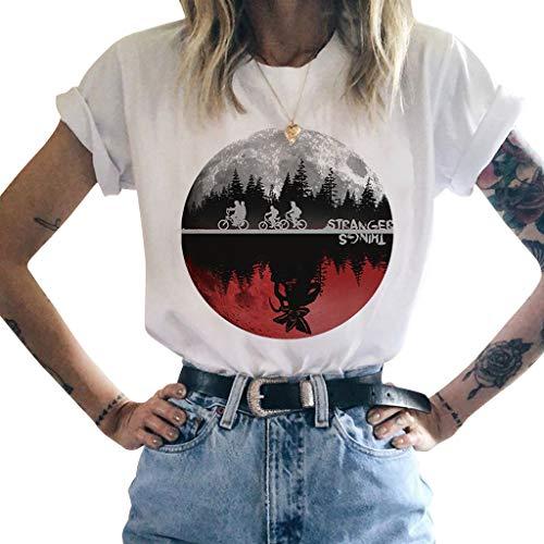 KIACIYA Stranger Things Maglietta per Donna, Stranger Things Maniche Corte Maglia Estate T-Shirt Tops Tee Camicia Camicetta Maglietta da Ragazza (11,M)