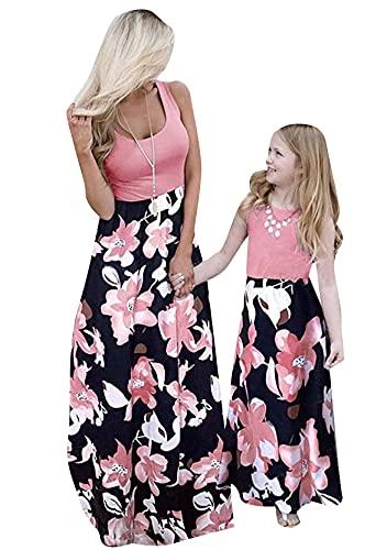 YMING Mutter und Tochter Freizeit Kleider Sommer Kleid Lässiges Maxikleid Ärmellos Kleid Rot Blumen XL