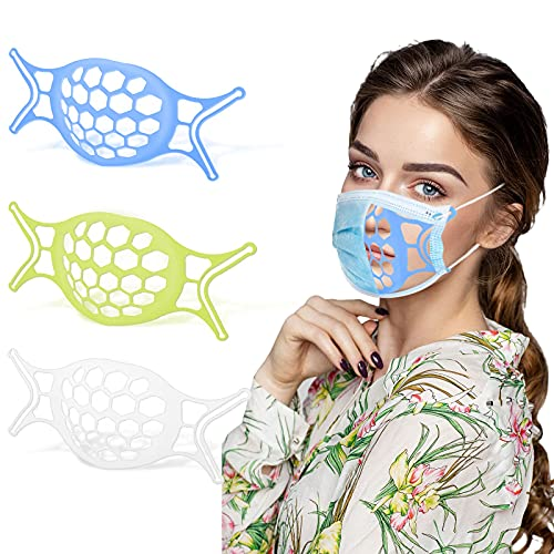 3D Mask Bracket 3PCS - Upgraded Silicone Face Mask Inner Support Frame for More Breathing Space, Keep Fabric off Mouth, Lipstick Protector Reusable