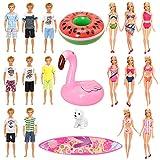 Miunana 12 piezas ropa & accesorios para muñecas (3 ropa de playa & 5 trajes de baño & 1 tabla de surf & 2 flotadores inflables & 1 perro).