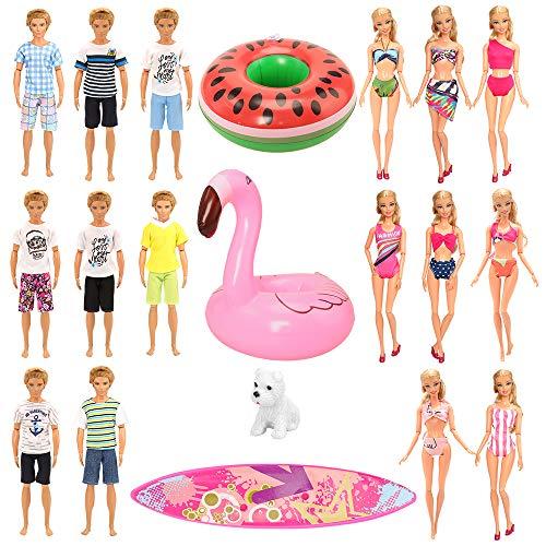 Miunana 12 PCS Kleider & Puppenzubehör für Puppen (3 Strandkleidung & 5 Bademode & 1 Surfbrett & 2 Aufblasbarer Schwimmring& 1 Hund)