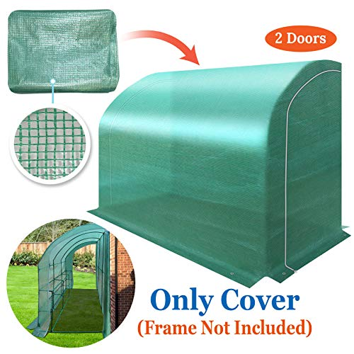 BenefitUSA Lean-to Greenhouse Cover Replacement Canopy for 10'x5'x7' Walk in Green House, Canopy ONLY (Green)