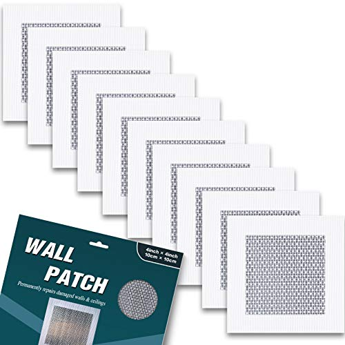 """Drywall repair patch - 10 pack self adhesive drywall repair kit - quick solution to fill the holes in your walls - 4""""x4""""heavy duty dry wall hole repair patch (4""""x4"""")"""