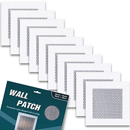 Selbstklebendes Reparaturband, Glasfasergewebe Wandreparatur Patch zum Abdecken von Bohrlöchern und Rissen im Putzen, 10 STÜCKE (10,2 x 10,2 cm)