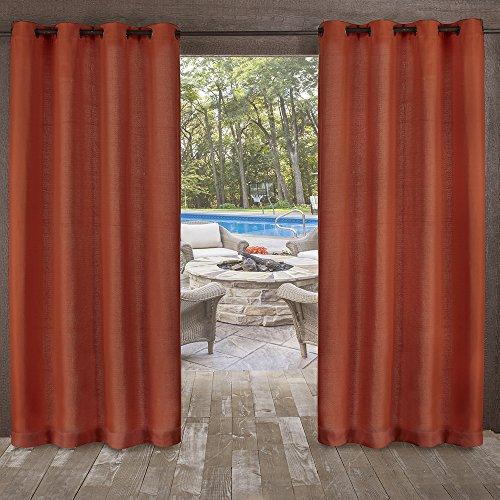 Exclusive Home Curtains Delano Heavyweight Textured Indoor/Outdoor Grommet Top Curtain Panel Pair, 54x96, Mecca Orange, 2 Piece