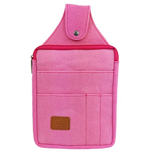 Venetto Multifunktions Gürteltasche Bauchtasche Hüfttasche felt sachet bag aus Filz mit Echtleder-Applikationen (Pink)
