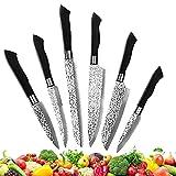 Coltelli Cucina Set 6 Pezzi,contenere Spelucchino-coltello da pane-coltello da bistecca-coltello universale-coltello Santoku-coltello da chef,Set Coltelli da Cucina Acciaio Inox,Manici ergonomici