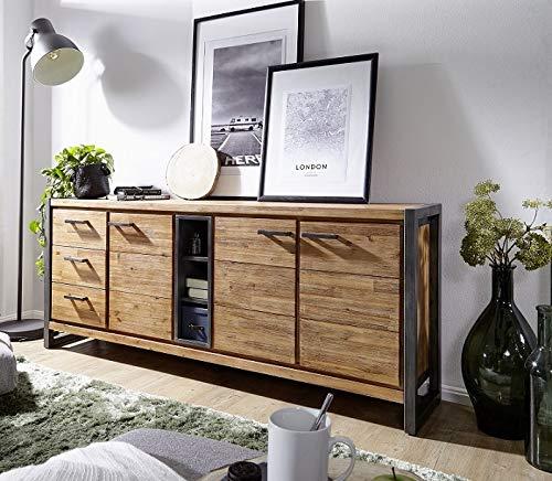 Main Möbel Sideboard massiv Holz Metall Tundra 200x80 Akazie Natur