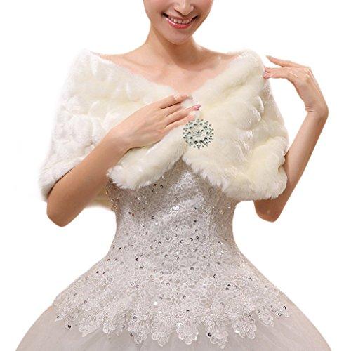 Liying Gorgeous Women Bridesmaid Wedding Faux Fur Bridal Cape Jacket Coats Ball Gown Party Tippet Bolero Warp Stole Shrug Cloak White