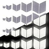 Tuqiang Diamant-Form Reflektierendes Klebeband Wasserdicht Selbstklebend Für Buggy und Kinderwagen Motorradhelm Hohe Sichtbarkeit Band Sicherheit im Freien Reflektierend Aufkleber 25 Stück Weiß