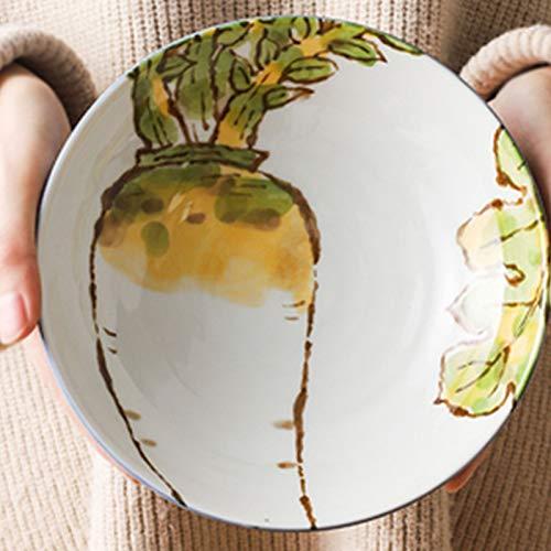 IHZ Vajilla Japonesa, Plato para el hogar, Plato de Bola de Masa, cerámica Creativa, Plato Hondo de patrón Vegetal(Color:18cm,Size:C)