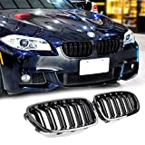 Front Center Kidney Grille Grill - Gloss Black Double Slats Replacement...