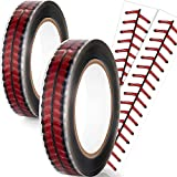 2 Roll (220 Yards) Baseball Stitches Design Tape 1 Inch Packing Tape Cellophane Adhesive Baseball Tape Permanent Designer Crafting Rolls for Shipping, Sealing, and More
