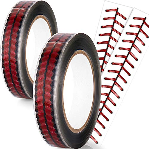 2 Roll (220 Yards) Baseball Stitches Design Tape 1 Inch Packing Tape Cellophane Adhesive Baseball Tape Permanent Designer Crafting Rolls for Christmas Wrapping, Shipping, Sealing, and More